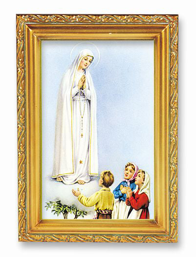 Our Lady Fatima Wood Tone Framed 4 1/2 X 6 1/2
