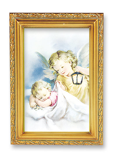 Angel With Lamp Wood Tone Frame 4 1/2 X 6 1/2
