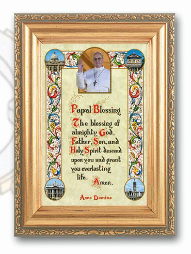 Pope Francis Blessing Wood Tone Frame 4 1/2X6 1/2