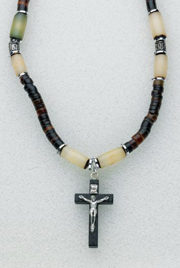 Stone Dark Brwon And Ivory Bead Necklace with Blk Crucifix