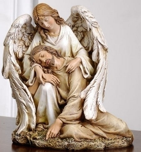 7-inch Angel Comforting Christ Figurineure