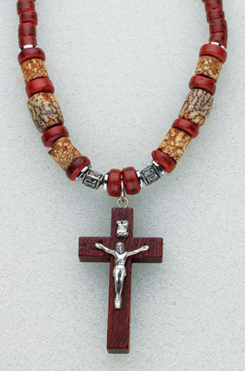 Brown Stone Bead Necklace With Dark Brown Crucifix