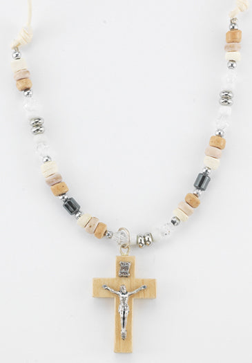 Light Brown Necklace With Wood Crucifix
