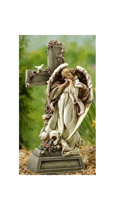 14.75-inch Angel With Cross Memorial