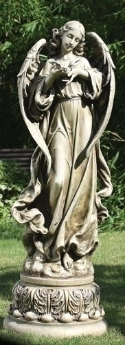 46.75-inch Angel With Dove Garden