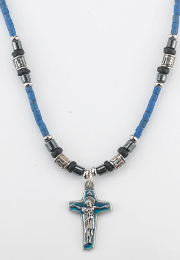 Dark Blue Necklace With Enameled Crucifix