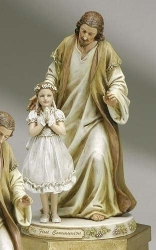 9.5-inch Jesus With Praying Girl Figurineure