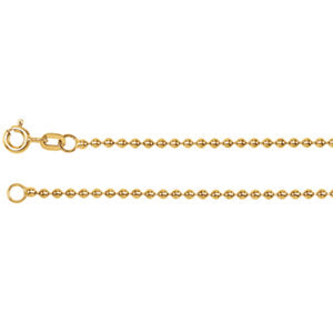 16-inch Bead Chain with Spring Ring - 14K Yellow Gold