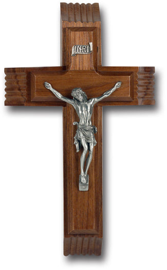 10-inch Walnut Sick Call Crucifix with Genuine Pewter Corpus