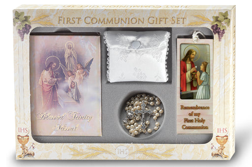 Blessed Trinity Communion Set with Pearlized Book