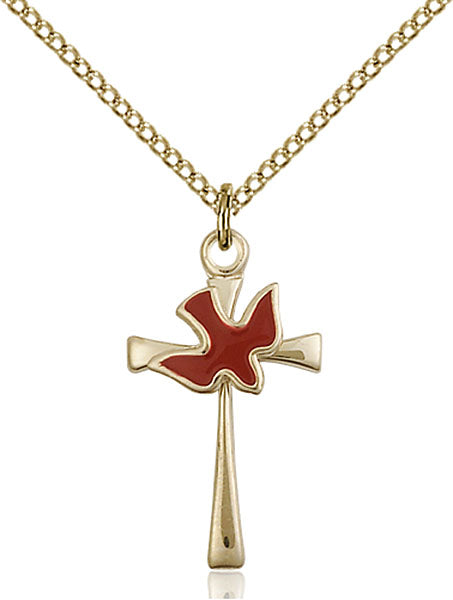 Gold-Filled Cross and Holy Spirit Necklace Set