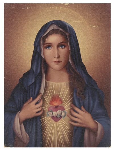 Immaculate Heart Of Mary Small Gold Embossed Plaque