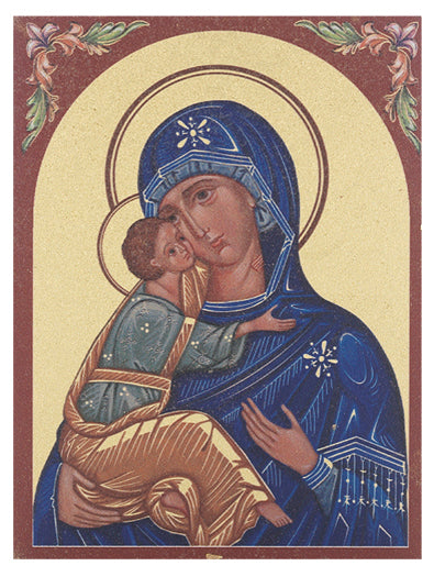 Our Lady Of Vladimir Small Gold Embossed Plaque