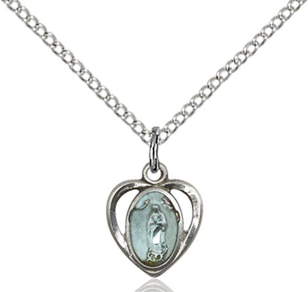 Sterling Silver Our Lady of Guadalupe Necklace Set