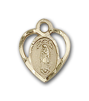 14K Gold Our Lady of Guadalupe Pendant