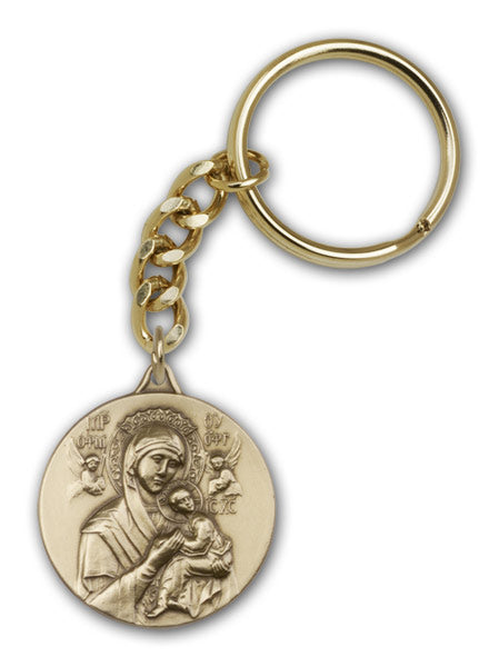 Antique Gold Our Lady of Perpetual Health Keychain