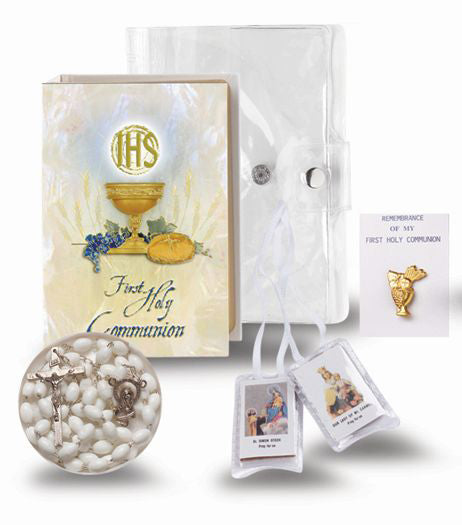 Pearlized Book In Clear Case Communion Set