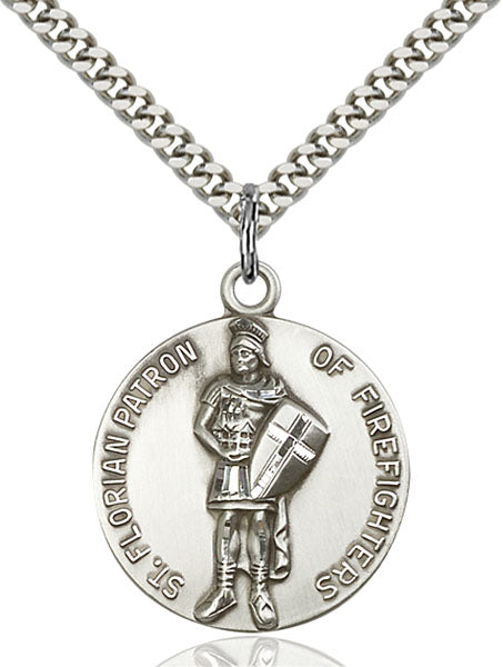 Sterling Silver Saint Florian Necklace Set