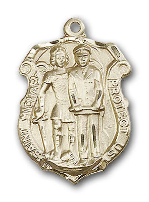 14K Gold Saint Michael the Archangel Pendant - Engravable