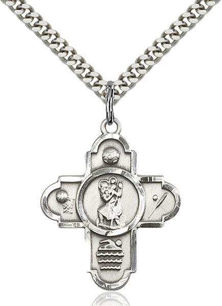 Sterling Silver 5-Way Saint Christopher/Sports Pendant