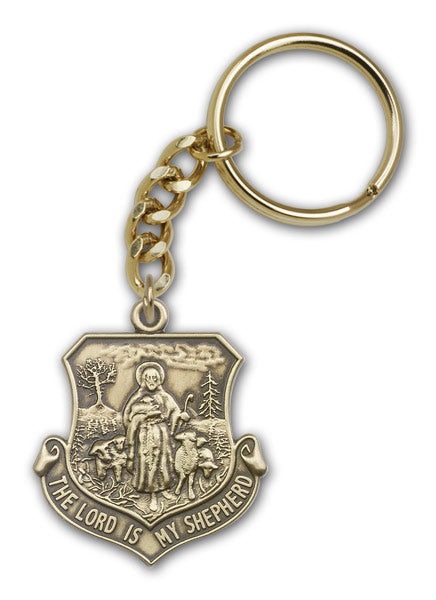 Antique Gold Lord Is My Shepherd Keychain