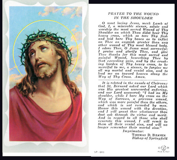 100-Pack - Wound In The Shoulder Holy Card With Prayer