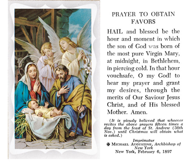 100-Pack - Prayer To Obtain Favors Holy Card