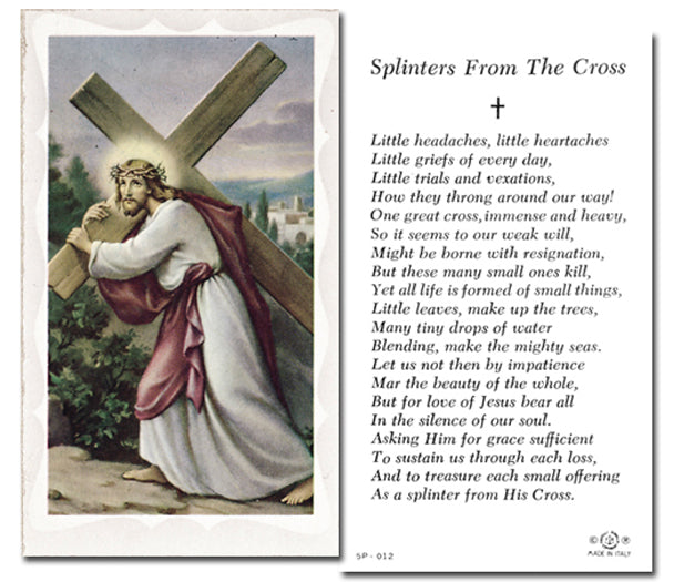 100-Pack - Splinters From The Cross Holy Card with Prayer