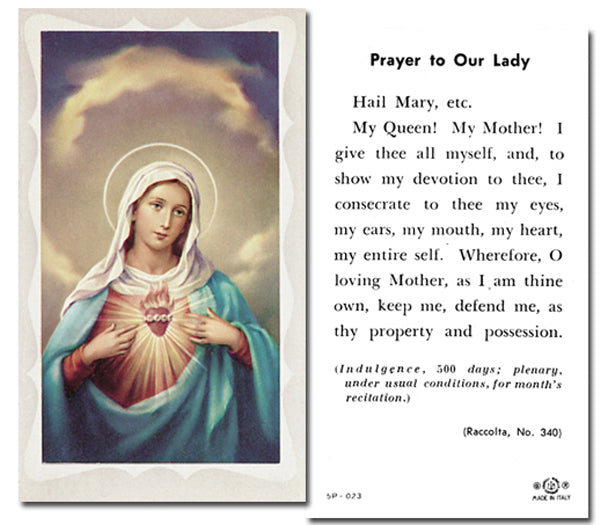 100-Pack - Immaculate Heart with Prayer Holy Card