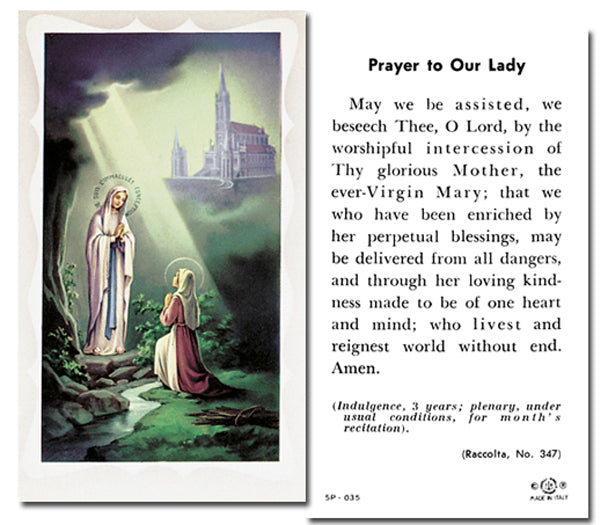 100-Pack - Our Lady Lourdes Holy Card with Prayer