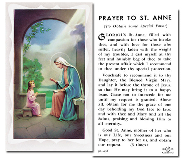 100-Pack - Saint Anne Holy Card With Prayer