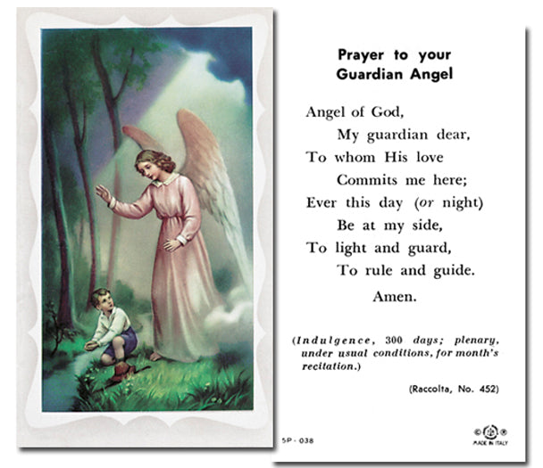 100-Pack - Guardian Angel Boy Holy Card With Prayer