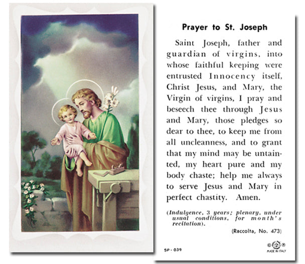 100-Pack - Saint Joseph The Worker Holy Card With Prayer
