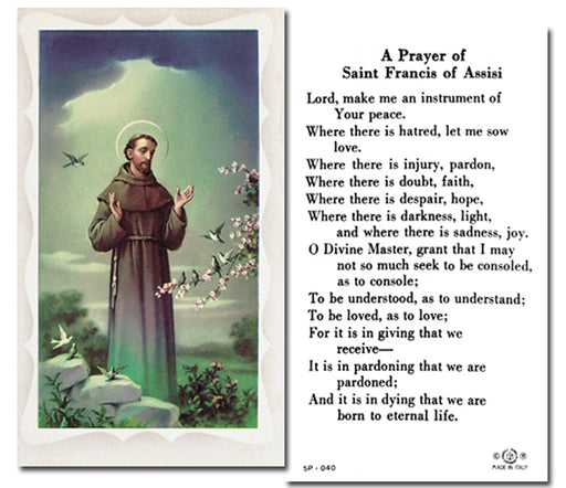 100-Pack - Saint Francis Of Assisi Holy Card With Prayer