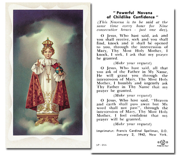 100-Pack - Infant Of Prague Holy Card With Prayer