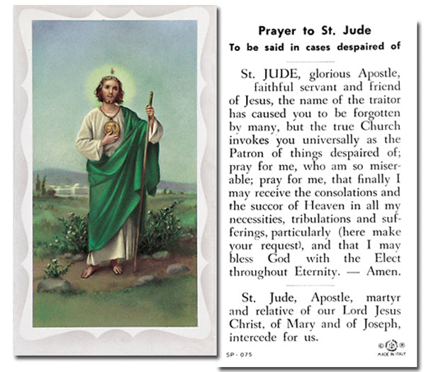 100-Pack - Saint Jude Holy Card With Prayer