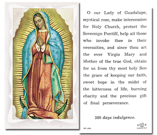 100-Pack - Our Lady Of Guadalupe Holy Card With Prayer