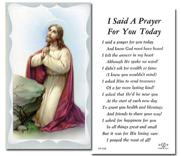 100-Pack - I Said A Prayer For You Today Holy Card with Prayer