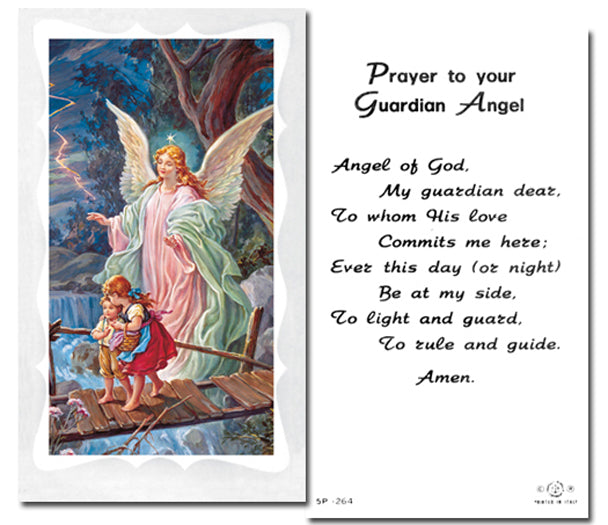 100-Pack - Guardian Angel On The Bridge With Prayer Holy Card