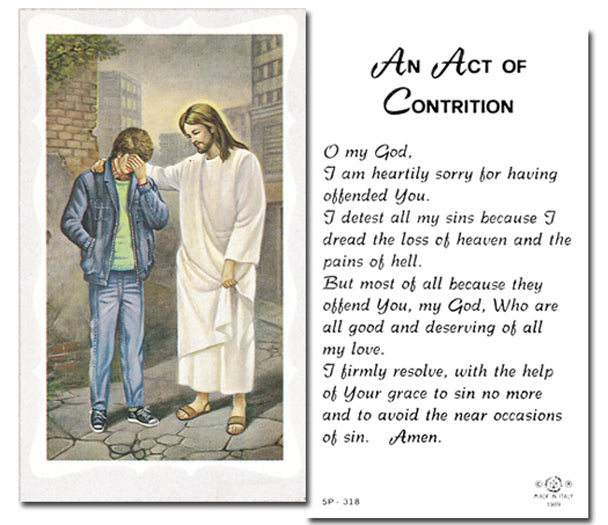 100-Pack - Pardoning Boy W Act Of Contrition Holy Card