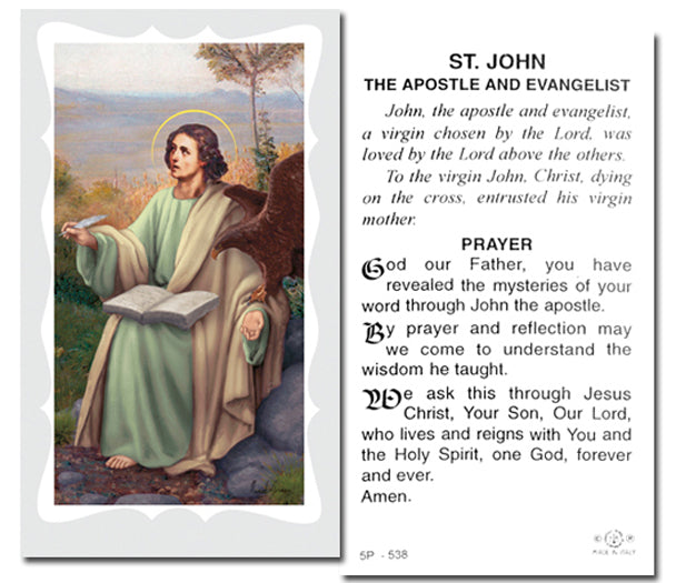 100-Pack - Saint John The Evangelist Holy Card With Prayer