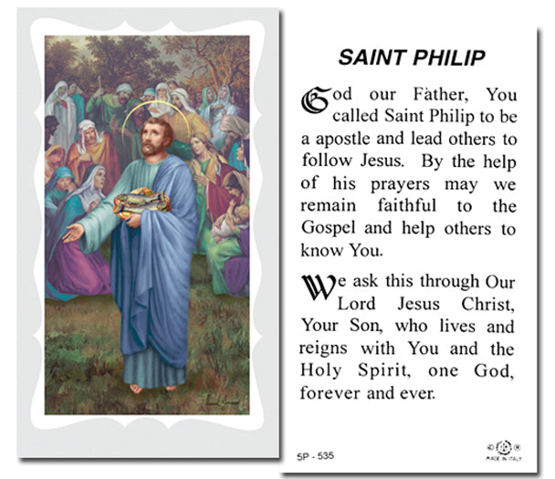 100-Pack - Saint Philip With Prayer Holy Card