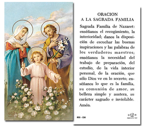 100-Pack - Oracion A La Sagrada Familia Holy Card