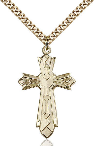 Gold-Filled Mosaic Cross Necklace Set