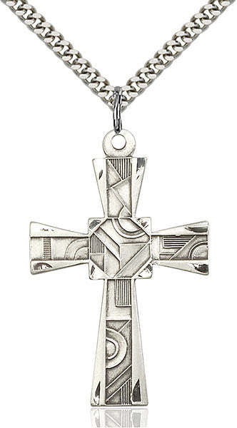 Sterling Silver Mosaic Cross Necklace Set