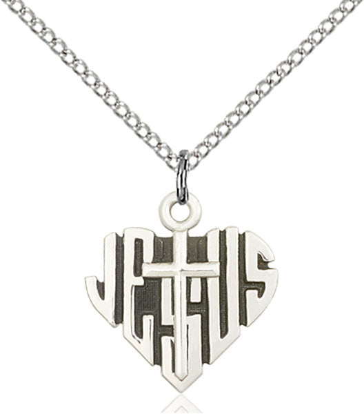 Sterling Silver Heart of Jesus and Cross Necklace Set