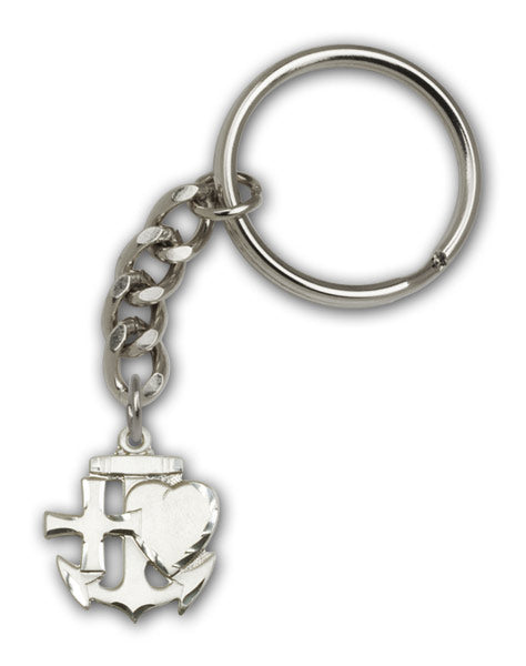 Antique Silver Faith Hope and Charity Keychain