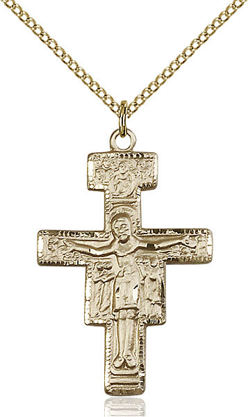 Gold-Filled San Damiano Crucifix Necklace Set