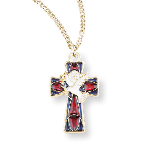 Red Enamel Cross With Holy Spirit and Ihs On Chain