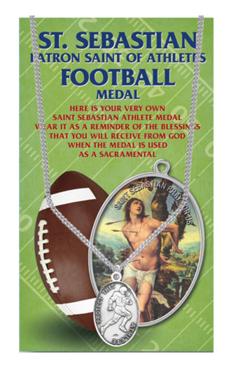 Oval Saint Sebastian Men'S Football Medal 24-inch Chain